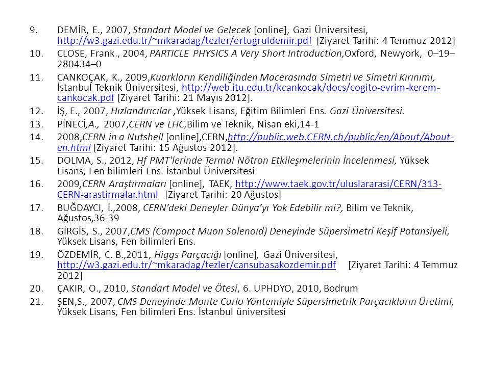 DEMİR, E., 2007, Standart Model ve Gelecek [online], Gazi Üniversitesi, http://w3.gazi.edu.tr/~mkaradag/tezler/ertugruldemir.pdf [Ziyaret Tarihi: 4 Temmuz 2012]